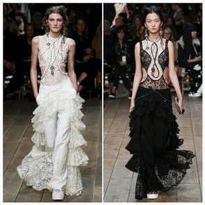 The Frill of It All. Amazing designs by @worldmcqueen typifying the trend of lace ruffles for Spring 2016.  #Sophiehallette #FrenchLace #Lace #AlexanderMcQueen #PFW #ParisFashionWeek