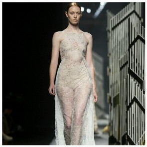 Transparently Lovely !  This delicious, embroidered slip of dress signé @alvarnostudio is splendid. Bravo!  #SophieHallette #FrenchLace #Lace #Alvarno #Dress #Transparence #SpringSummer2016 #FashionWeek #ReadyToWear