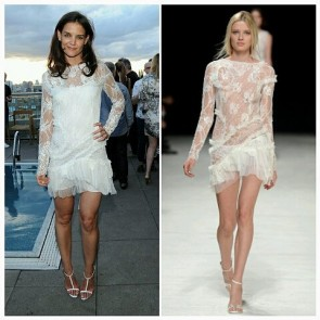 Throwback Tuesday with @katieholmes212 rocking a long-sleeve @ninaricci sheer lace dress at ASP World Surf League cocktail Party in NYC.  #SophieHallette #lace #White #sheer #dress #ninaricci #KatieHolmes #Hollywood #Cocktail #CocktailParty #NYC