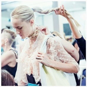 Congratulations To @jw_anderson who scooped two awards at the recent British Fashion Awards taking the prise for 2015 Menswear AND 2015 Womenswear Designer !  That's a first and we look forward to watching his stellar rise to the top of the Fashion tree.  Backstage photo JW Anderson RTW SS2016 design made with Sophie Hallette's lace.  #Sophiehallette #lace #tulle #french #Fabrics  #JWAnderson #grandwinner #double prise #designer  #Menswear #womenswear #BFA2015 #britishfashionawards