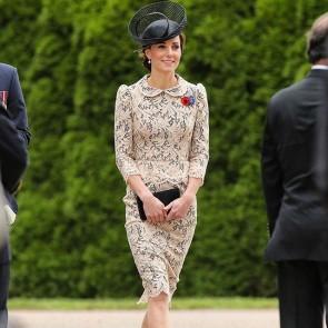 Nude Sophie Hallette lace, subtle peplum waist and Peter Pan collar, we definitely love the Duchess of Cambridge summer looks!  #sophiehallette #lace #bespoke dress #lacedress #katemiddleton #duchessofcambridge #thiepval #commemoration #summerlook #royals